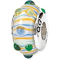 Sterling Silver Reflections Blu / Verde / Giallo Stripes a mano in vetro soffiato Bea