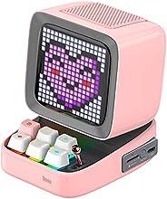 مكبر صوت بلوتوث محمول DIVDITPNK Divoom Ditoo Pixel Art مع تطبيق للتحكم في لوحة أمامية LED 16X16 - وردي (علبة م