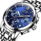 Relojes para hombres Reloj de acero inoxidable de la marca de lujo Marca LIGE Reloj de pulsera de cuarzo analógico para negocios Casual Plata Azul Deporte Cronógrafo