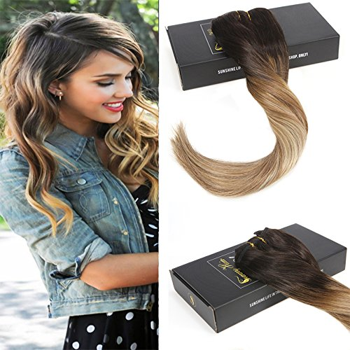 Sunny 120g/7pcs Haarverlangerung Echthaar Clips Ombre Dunkelbraun zu Blond mit Brown 100% Remy Clip in Echthaar Extensions 22Zoll 22 In Extensions Echthaar