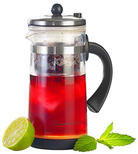 Rosenstein & Söhne Eistee Teebereiter: Eistee- & Tee-Bereiter-Kanne mit Komfort-Brühfunktion, 700ml (Eisteezubereiter)