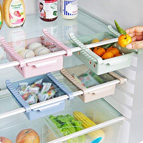 Profusion Kreis Slide Küche Kühlschrank Kühlschrank Aufbewahrung Rack Gefrierschrank Regal Küche Space Saver Schublade Organizer Einheitsgröße rose