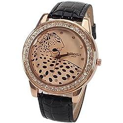 XKC-watches Relojes de Mujer, Reloj de Cuarzo A628 con 12 Puntos pequeños Diamantes Indican Cuero del Reloj de Leopardo Banda de línea patrón para Las Mujeres (Color : Negro)