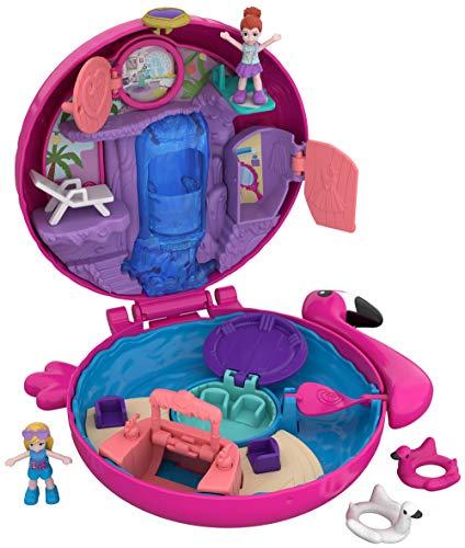 Polly Pocket FRY38 - World Flamingo Schwimmring Schatulle Puppen Spielset, zum Sammeln, Mädchen Spielzeug ab 4 Jahren