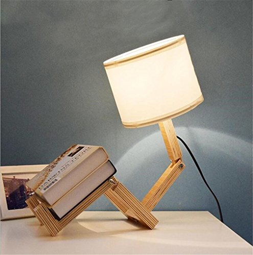 LUCKY CLOVER-A Tischlampe Moderne Einfache Schlafzimmer Wohnzimmer Kreative Klapp Massivholz Stoff Warme Dekorative Nachttisch BüCherregal Personalisierte Augenpflege Studenten (Bücherregal Messing)