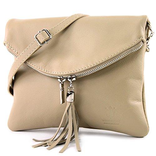 borsa di pelle ital. pochette pochette borsa tracolla Ragazze T139 piccola pelletteria, Präzise Farbe (nur Farbe):T139 Beige