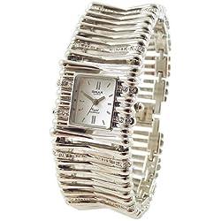 Omax Women's Watch White Silver Analogue Metal Rhinestones Wristwatch