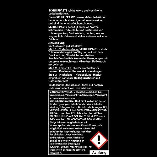 Brestol Schleifpaste 500 ml - Schleifpolitur Autopolitur - entfernt Kratzer & Schrammen - Rostspuren Farbspuren Reibspuren - Lackreiniger Kratzerentferner
