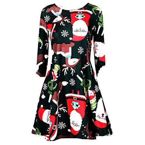 ‿ JUSTSELL Weihnachten Kleider für Damen,Frauen Drucken Kleider Lange Ärmel Festliche Kleider...