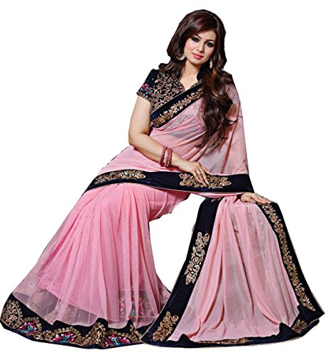 Arawins Ethnic Clothing Party Wear Pink Georgette Sarees For Women Latest Design...