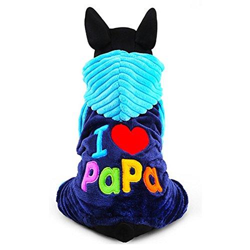 "YiZYiF Hoodie Hund Pullover mit Kapuzen "" I Love Papa / Mama "" Winter Warme Jacke Haustier Hunde Bekleidung & Zubehör Shirts Sweater XXS-L Blau L"