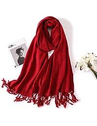 HITSAN INCORPORATION solid winter scarf cashmere scarves women shawls and  wrap warm pashmina bandana tassels female foulard Hijab… 7327d5ba362