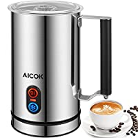 Aicok Milk Frother, Stainless Steel Electric Milk Steamer with Hot Or Cold Milk, Silent Operation, Non-Stick Coating, Milk Warmer for Coffee, Latte, Cappuccino, Silver