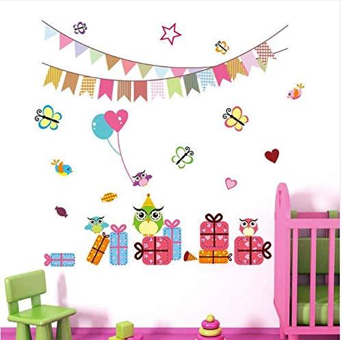 Stickers For Nursery Kids Room Decoration Home Birthday Party Decor Owl Animals Pvc Sticker Mural Art Poster 75Cm*70Cm ()