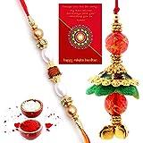 Traditional Villa Traditional Rajasthani Fancy Bhaiya Bhabhi Rakhi Gift Set Rakhi For Bhaiya Bhabhi And Rakhi For Bhaiya Bhabhi Combo And Rakhi Gifts For Brother Rakhi Set Free Shipping+Roli+Chawal+Greeting Card !!-2Bbs244