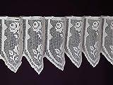 Hossner Vollhäkelgardine nach Maß, Häkelspitze Häkelgardine Handhäkelspitze Landhausspitze Panneaux Scheibengardine mit Schlaufen, Shabby ca. 30 cm Höhe 100% Baumwolle Ecru