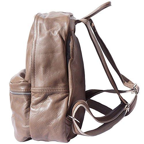 UNISEX Rucksack mit echten Kuh-Leder 7028 Denkel taupe