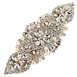 Crystal Rhinestone Appliques Pearls Beaded Embellishments Handcrafted Sparkle Elegant Sewing on Hot fix for DIY Wedding Gown Bridal Belts Sashes Prom Evening Women Dresses (Silver018)
