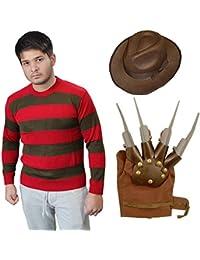 Wicked Fun Freddy Krueger Halloween Fancy Dress Costume Jumper Hat and Gloves