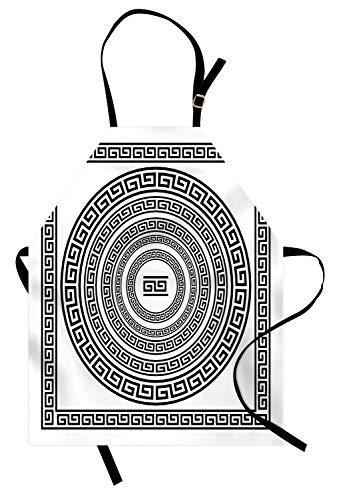 Griechische Schlüsselschürze, traditionelle Mäander-Border-Set mit Quadrat und Kreisen Antike ethnische Rahmenpackung, Unisex-Küchenschürze mit verstellbarem Hals zum Kochen Backen Gartenarbeit, ()