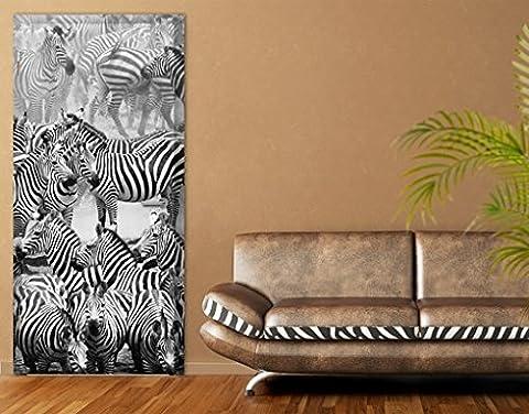Door Photo Wall Mural Zebra Drove II, Größe:221cm x