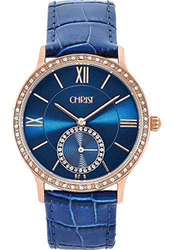 CHRIST times Damen-Armbanduhr Edelstahl Analog Quarz One Size, blau, blau