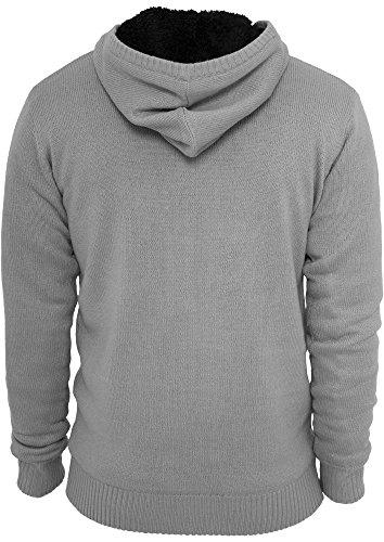 Urban Classics Herren Kapuzenpullover Knitted Winter Zip Hoody Mehrfarbig (Gry/Blk 00119)