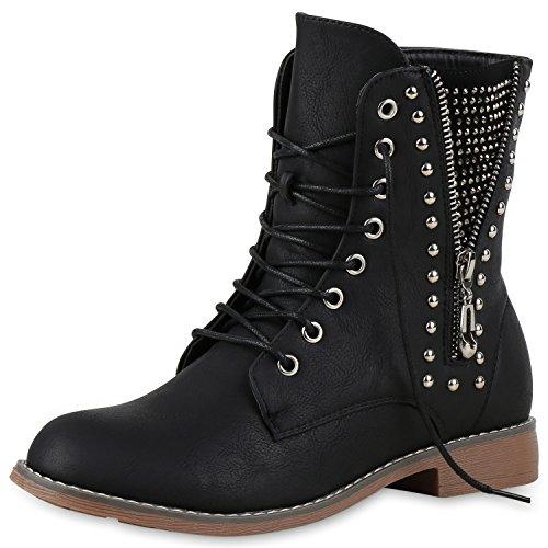 Damen Boots Stiefeletten mit Stilettoabsatz Trend Damen Stiefeletten Schwarz Nieten Nuovo 40
