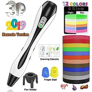 Stylo 3D Lovebay 3D Professionnel Pen Set Stylo d'Impression 3D avec Ecran LCD+12 Multicolores Filament PLA Φ1,75 mm,Meilleur Cadeau - Stylo 3d pour Enfant et Adulte【2019 Dernière version 】