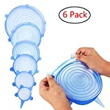Silicone Stretch Lids Covers, TengKo Durable Reusable 6 PCS Silicone Stretch Lids Huggers Covers Freezable Microwavable Multi-Size Silicone Seal Bowl Cover Kitchen Storage Organization Set For Bowls Cups Pot