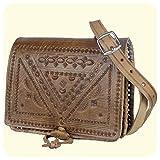 Leder-Tasche 'Casablanca' • marokkanische Umhängetasche mit dekorativer Lederprägung • 100%...