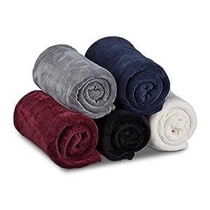 Relaxdays Kuscheldecke, groß, Fleece, bei 30°C waschbar, trocknergeeignet, HBT: 1 x 150 x 200 cm, bordeaux