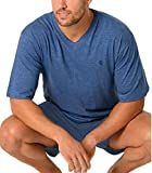 El Búho Nocturno Pijama de Caballero Corto Moderno en Falso Liso/Ropa de Dormir para Hombre - Punto, 100% Algodón - Talla XL - Color Azul Ultramar