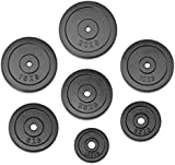 """JLL® Weight Plates 1"""" Cast Iron Weights for Dumbbell/Weight Lifting Bars - 1.25kg, 2.5kg, 5kg, 7.5kg, 10kg, 15kg and 20kg in Sets of 5kg, 10kg, 15kg, 20kg and 30kg (20kg)"""