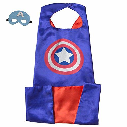 Ducomi® Superhelden-Kostüm mit Kapuze und Umhang - Unisex und Kinder 3 bis 10 Jahre (Captain (Kostüme Einem Beginnend Mit)