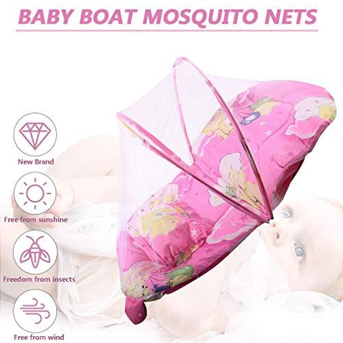 creatspaceE Faltbare Babymatratze mit gepolsterter Matratze für Kleinkinder, Moskitonetz, Zeltständer, Kinderbett, Zubehör, aufgehängt, Kuppelboden, Pink