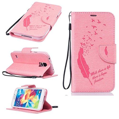 Qiaogle Telefon Case - PU Leder Wallet Schutzhülle Case für Apple iPhone 7 (4.7 Zoll) - BF49 / Schwarze Federn und Hoffnung auf das Leben BF48 / Pink