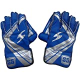 SS College Men's Wicket Keeping Gloves (Blue/Silver)