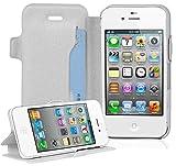 Cadorabo Hülle für Apple iPhone 4 / iPhone 4S - Hülle in ICY WEIß – Handyhülle mit Standfunktion und Kartenfach im Ultra Slim Design - Case Cover Schutzhülle Etui Tasche Book