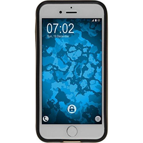 Hybridhülle für Apple iPhone 7 - Carbonoptik silber - Cover PhoneNatic Schutzhülle + 2 Schutzfolien Gold