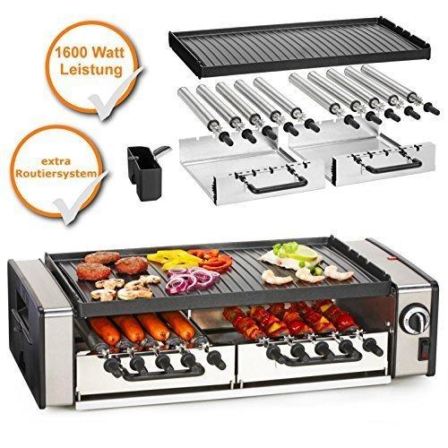 XL-Tischgrill, Kombigerät mit Bratplatte + Routiersystem für Würstchen, für bis zu 10Personen geeignet
