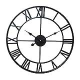 Baoblaze Vintage Große Uhr Wanduhr Römische Zahlen Industrie Design -Ø40cm - Schwarz