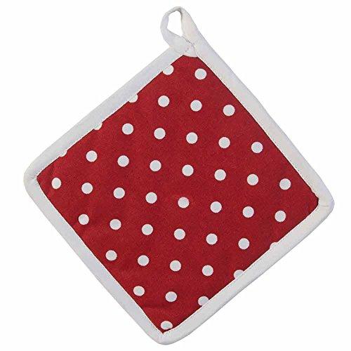 Homescapes - Pur Coton - Manique - À Pois - Rouge Blanc - 20 x 20 cm - Linge de Cuisine Entièrement Coordonné et Lavable