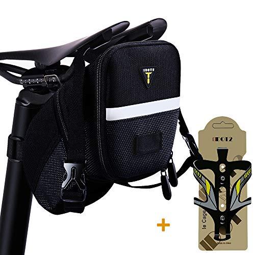 1DOT2 Satteltasche mit Flaschenhalter Wasserdichte Fahrrad Sattel Tasche mit erweiterbarer Kapazität, kompekt, verschleißfest und leicht montieren geeignet für Mountainbike Rennrad, 23 * 12 * 14cm