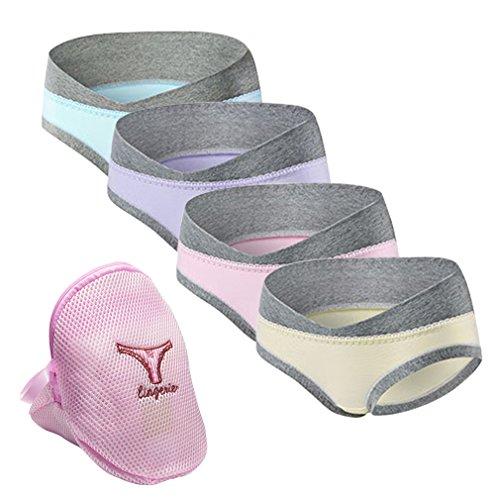 4er/6er Pack Schwangerschafts Mutterschaft Slips Spitzenhöschen Baumwolle Low Waist Umstandskleidung Umstandsmode Unterwäsche Unterhosen mit Wäschebeutel