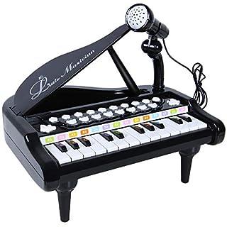 ANTAPRCISSpielzeug Keyboard mit Mikrofon, Tragbar Kinder Klavier Piano Standkeyboard mit 24 Klaviertasten, Multifunktional Karaoke Klaviertastatur Musikinstrument für Baby Kleinkind Kinder Geschenk