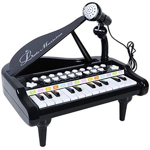SGILE Spielzeug Keyboard mit Mikrofon, Tragbar Kinder Klavier Piano Standkeyboard mit 24 Klaviertasten, Multifunktional Karaoke Klaviertastatur Musikinstrument für Baby Kleinkind Kinder Geschenk (Kleinkind-klavier)