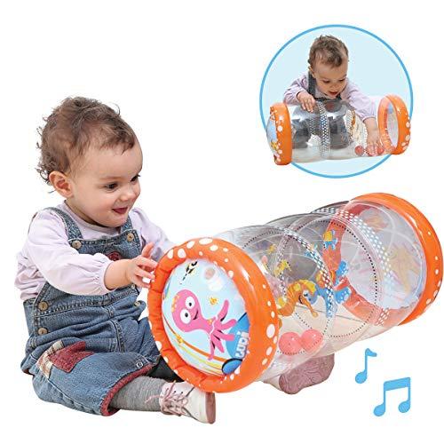 LUDI - Baby roller 'Mer' 40 x 25 x 20 cm dès 6 mois. Rouleau gonflable qui développe la motricité des enfants. 3 balles sonores à faire circuler d'étage en étage - 3452