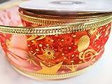 Schleifenband Geschenkband mit Sternen Glitzer Weihnachten (Kleine Sterne Rot, 20m x 40mm)