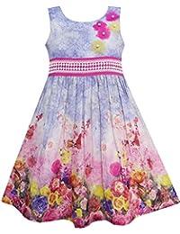 Mädchen Kleid Tank Rose Garten Blume Drucken Baumwolle Lila